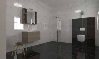 black and white Classic Bathroom ismael fadel