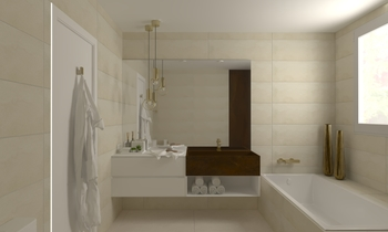 Monique Contemporain Salle de bain Aurum  Construcciones