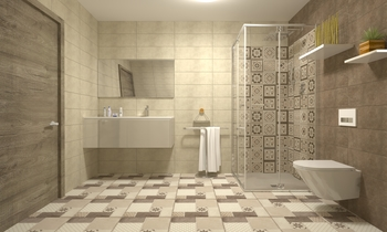 brown beige touch Modern Bathroom ismael fadel
