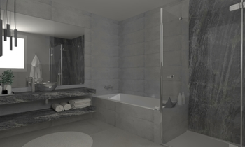 SA Baño Gris Contemporary Bathroom Aurum  Construcciones