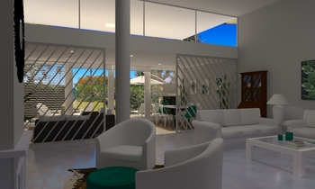 Casa 3 fresno abedul verd... Contemporary Living room Aurum  Construcciones