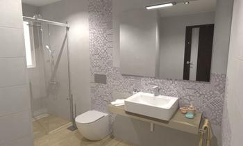 Conchi - Baño 2 (1ª idea)... Nowoczesne Łazienka Comercial Cortazar Diseños personalizados