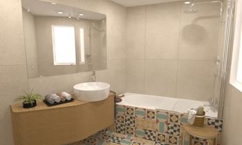 CR - Baño Bañera Mediterranean Bathroom Comercial Cortazar Diseños personalizados