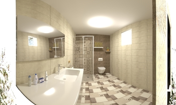 brown beige touch  Classic Bathroom ismael fadel