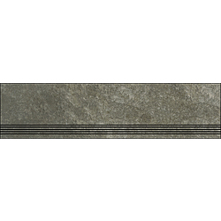 Step With Grooves Rusted Brown Natural 120x30 cm Porcelaingres Mile Stone