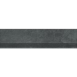 Step With Grooves Carbon Black Natural 120x30 cm Porcelaingres Mile Stone