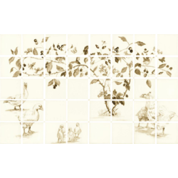 Sepia Flock Of Geese 40 Tile Panel 12.7x12.7 cm The Winchester Tile Company Classic