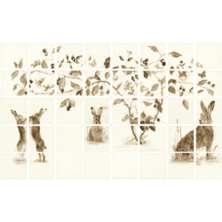 Sepia Boxing Hares 6 Tile Panel 12.7x12.7 cm The Winchester Tile Company Classic