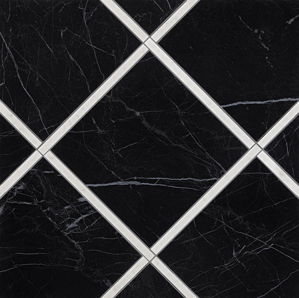 Roma Diamond Fap Ceramiche incroci nero reale carrara ins. 60x60 - collection roma