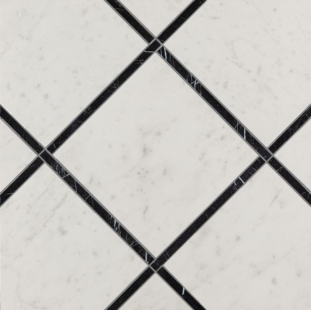Roma Diamond Fap Ceramiche incroci carrara nero reale ins 60x60 - collection roma